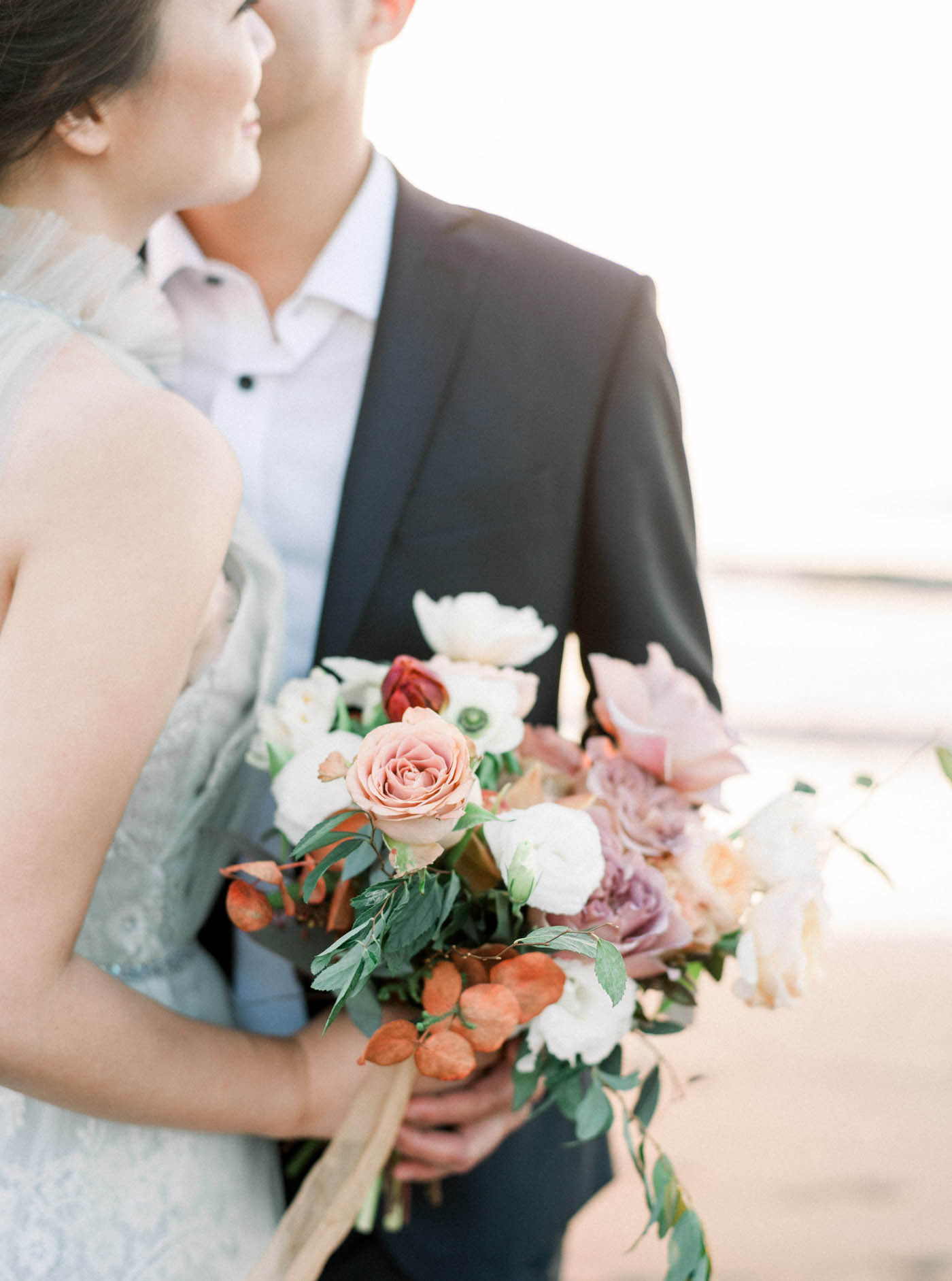 新娘捧花-美式捧花-沙灘婚紗-STAGE-底片-Mark-夕陽-唯諾禮服