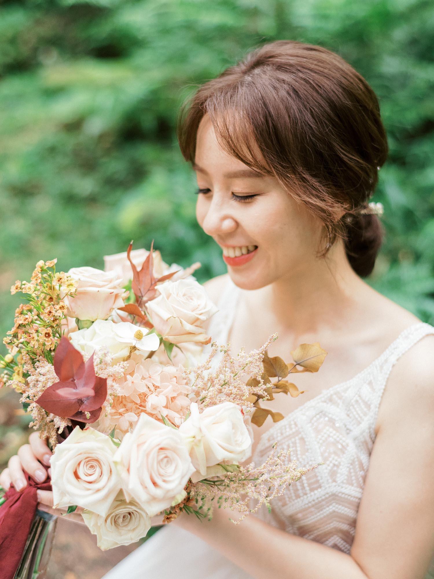 吉兒梁-新娘捧花-底片婚紗-森林-東眼山-美式婚紗-唯諾法式